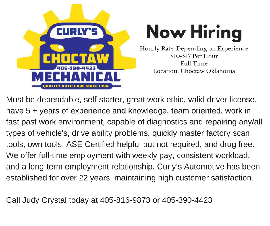 Now Hiring Curlys Automotive Choctaw Area Chamber Of Commerce